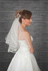 New-2-Tier-Ivory-White-Wedding-Bridal-Elbow-Satin-Edge-Veil-Length-with-Comb