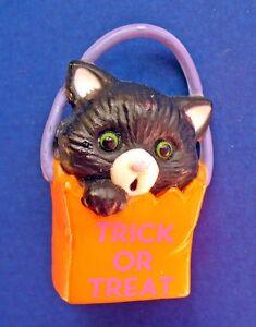 Gibson-PIN-Halloween-Vintage-CAT-BLACK-Fraidy-TRICK-OR-TREAT-GREEN-EYE-Holiday
