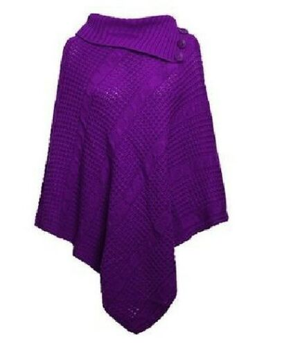 LADIES 3 BUTTON CABLE KNITTED CAPE PONCHO CARDIGAN WOMENS WINTER SHAWL WRAP 8-26