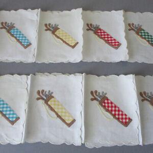 8 Vintage MADEIRA Hand Embroidered + Appliqued Linen COCKTAIL Napkins GOLF Bags