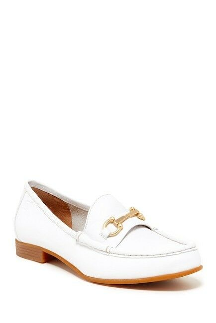 $110 Born Ardsley White Leather Loafer Comfort Shoe Gold Buckle Size 8.5 NEW