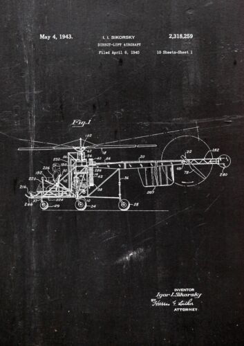 Kunstdruck01 Direct Lift Aircraft 1940 Patent Fine Art-Print Galeriequalität A4