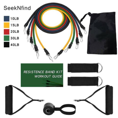 【150Bs】17Pcs Resistance Band Set Therapy Home Gym Workout Elastic Band Pull Rope