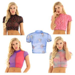 Mujeres-Crop-Tops-cuello-de-tortuga-Malla-ver-a-traves-de-la-Manga-Corta-Blusa-Camiseta-Camiseta-sin