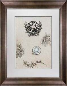 """Max Ernst LITHOGRAPH Original Numbered LIMITED Ed. """"All quiet on line"""" w/Frame"""