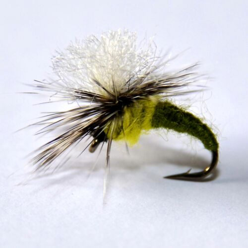 Klinkhammers in OLIVE//YELLOW Dry Fishing Flies 12 trout flies  by Dragonflies