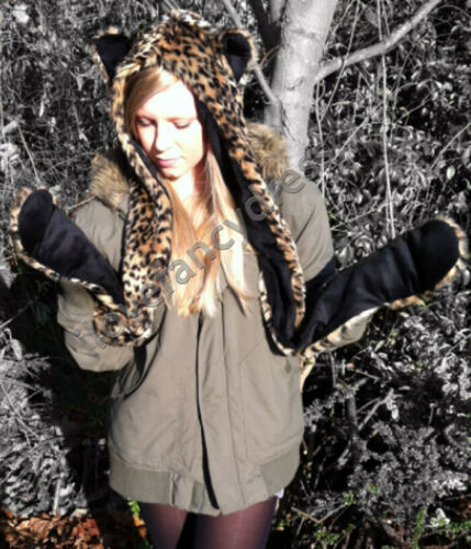 FAUX FUR ALL IN ONE SCARF HAT GLOVES LEOPARD PRINT 3 PIECE WOMANS SHAWL WARM