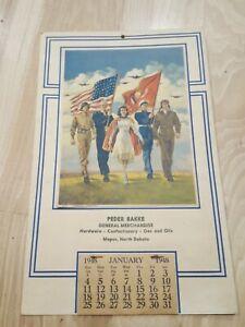 Vtg 1948 Calendar Freedom Forever Litho Bettina Steinke Military Nurse Honor