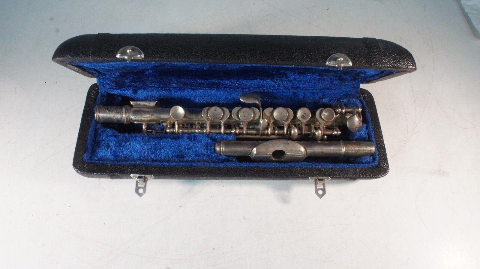 Piccolo Querflöte Flautín flûte Piccolo silber 35 Jahre alt Made in  na Punzen