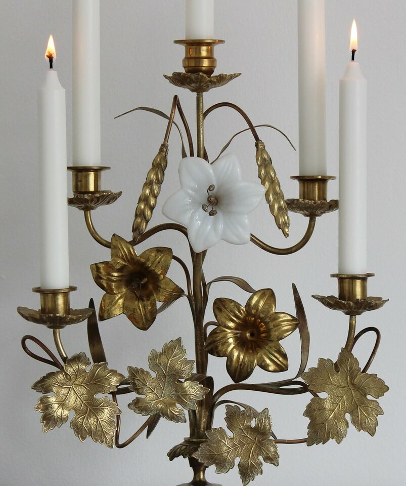 Antik fransk kirkestage, forgyldt bronze, opalglas