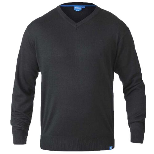Mens Duke D555 Russel Big Size Plain V-Neck Knitted Casual Jumper Winter Sweater