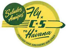 CS Airlines- Havana CUBA-Vintage 50s-Style Travel Decal