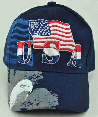 EAGLE USA FLAG SHADOW MILITARY CAP HAT BLACK NEW