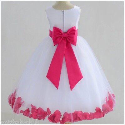 Girls Christening Bridesmaid Party Dress Petal Bow Tutu Chiffon Flower Petals