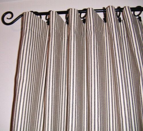 White Drapery Upholstery Fabric 100/% Cotton Classic Ticking Stripe Black