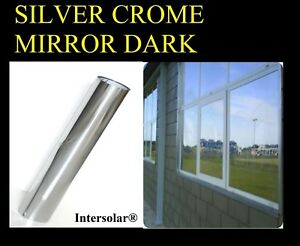 "30"" x20' Home Window Tint Silver/Black Film Crome Mirror Stop Heat 2ply 05% Dark"