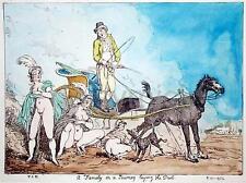 Thomas Rowlandson Family on a Journey Laying the Dust 12x8 Inch Vulgar Print