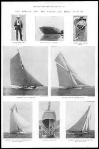 1899-Antique-Print-AMERICA-Cup-Yachts-Captains-Shamrock-Colombia-314