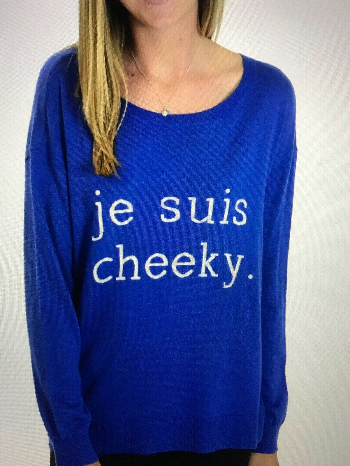NEW Joie Women's Eloisa Je Suis Cheeky Wool-Blend Graphic Sweater Marais bluee