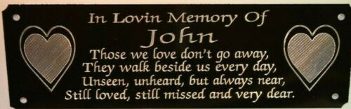 Love Heart Bench Memorial Plaque Plate Sign Personalised Engraved  160x55mm