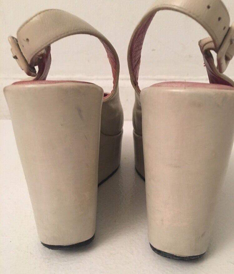Auth Stephane Kelian Cream Oat Red Leather Wedge Wedge Wedge shoes Open Toe SZ 38 US 8 f825b0