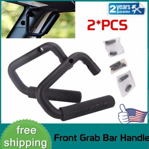 2Pcs Front Bolt-On Grab Handle Bars Steel Side Door For 07-18 Jeep Wrangler JK