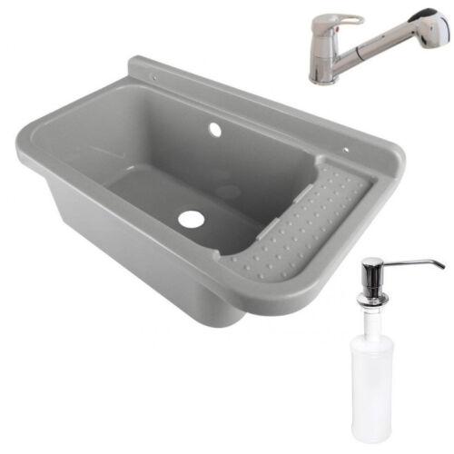 Ausgussbecken 59x34x21 Waschbecken Waschtrog Armatur AblaufgarniturSeifenspender