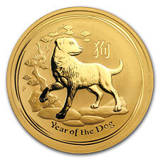 '2018 Australia 1 oz Gold Lunar Dog BU - SKU #154328' from the web at 'https://i.ebayimg.com/images/g/HYMAAOSwnyBZz~gy/s-l225.jpg'