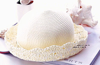 New Women Lady Sweet Summer Floral Brim Beach Travel Straw Sun Floppy Hat  Cap