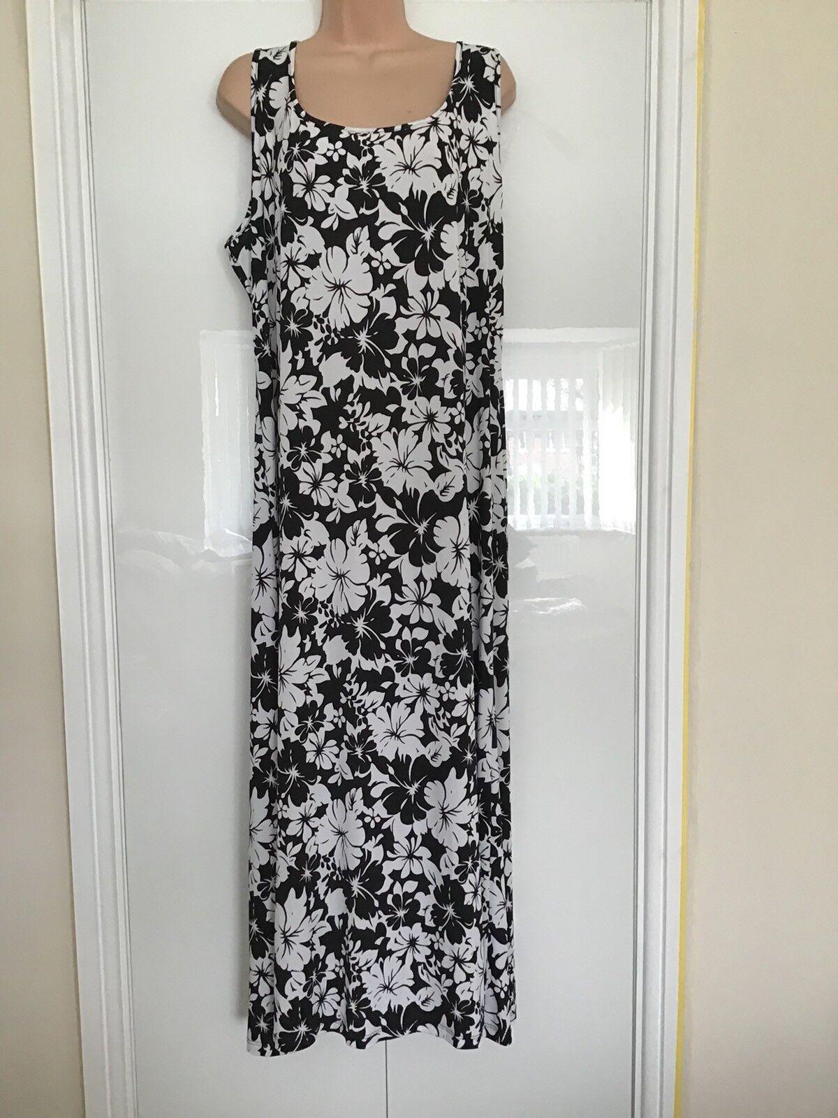 Kim & Co Monotone Floral Sleeveless A Line Maxi Dress Small