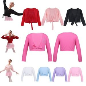1b4221332238 Kids Girls Ballet Dance Crossover Cotton Wrap Knitted Cardigan Top ...