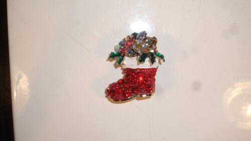 Impresionante Navidad Cristal Diamante Broche-Silver Gold-Vintage Stocking