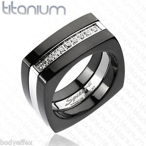 Image Is Loading Cly Mens Anium Square Wedding Band Ring Silver