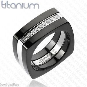 mens titanium square wedding band ring silver black
