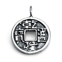 Chinese Feng Shui Coin Charm Pendant 925 Sterling Silver Azaggi P0046s