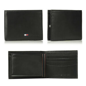 Tommy-Hilfiger-Mens-31TL22X060-Genuine-Leather-Credit-Card-Passcase-Wallet-Black