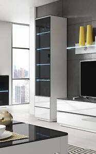 Details zu Wohnzimmer Vitrine Glasvitrine 50cm weiß / schwarzglas LED  Beleuchtung 2298RT05