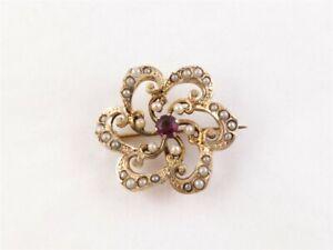 Vintage-Sterling-Silver-Vermeil-3-5mm-Garnet-Seed-Pearl-Swirl-Flower-Pin-Fob-1-034