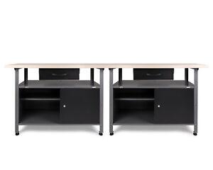 Ondis24 2 x Werkbank Werktisch Metall Montagewerkbank 32 mm Arbeitsplatte Holz