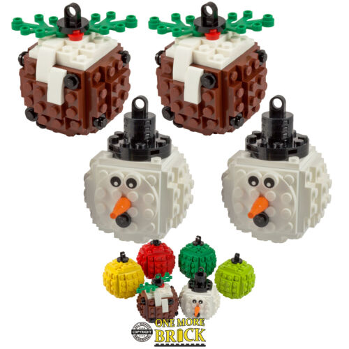 2x Pudding /& 2x SnowmanAll parts LEGO Christmas Baubles Pack of Four