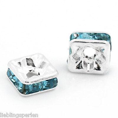 30 Versilbert Strass Blau Rondell Spacer Perlen Beads 6x6mm