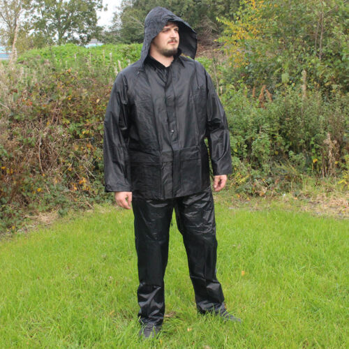 Camping Hiking Survival Hooded New Jacket and Trousers Waterproofs Set Black