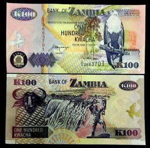 Zambia-100-Kwacha-Banknote-World-Paper-Money-UNC-Currency-Bill-Note