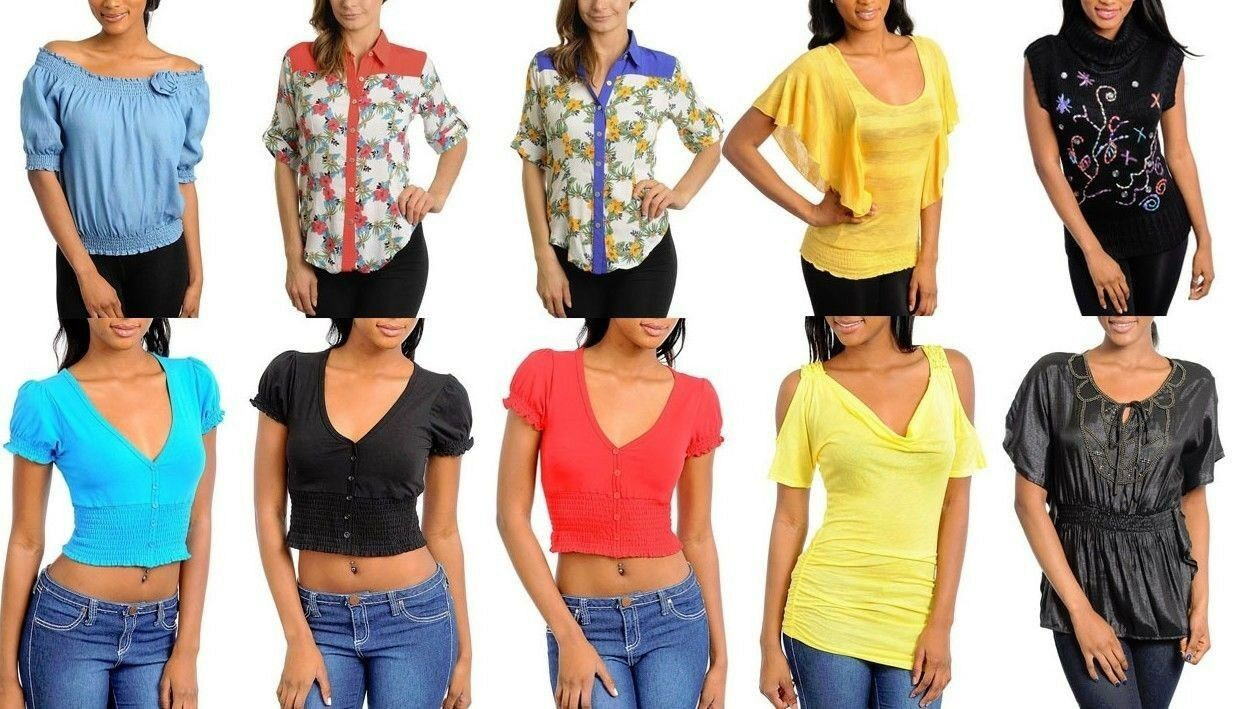 Lot 20 pcs Women tops Junior Apparel Mixed Summer dresses Club Wholesale S M L