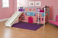 Kids Girls Twin Size Bunk Bed Slide Loft Child Bedroom Princess Castle Playhouse