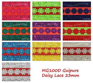 Lace-Guipure-Daisy-Trim-Applique-Flower-Motifs-Size-23mm-Choice-of-12-Colours