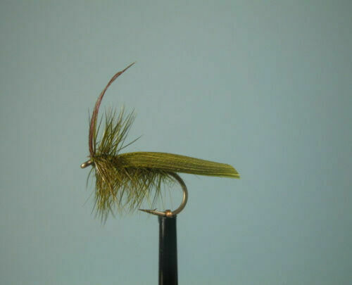 3 X OLIVE HORNED SEDGE DRY TROUT FLIES sizes 10,12,14 available