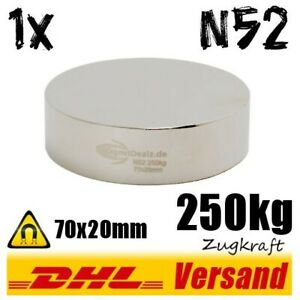 Neodym-Power-Magnet-70x20mm-250kg-Zugkraft-N52-starker-Permanentmagnet-Scheibe
