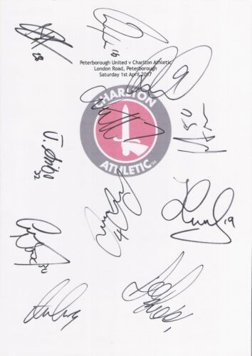 2 A4 cards with the Charlton Athletic Badge. Signed by 16 players on 01.04.2017.
