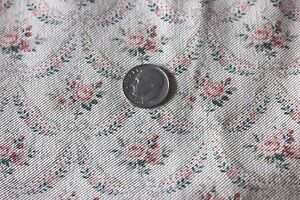 Antique-Tiny-Doll-Scale-French-Roses-amp-Ribbons-Textile-Fabric-c-1880